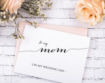 Thank you Wedding Note Card. Mother Thank you Card. To my Mom on My wedding day. To my Groom on my wedding day. To my dad on my wedding day