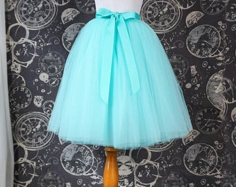 Aqua Blue Tulle Skirt - Adult Knee Length Tutu with Ribbon Waist and Ties - Custom Made to Your Measurements