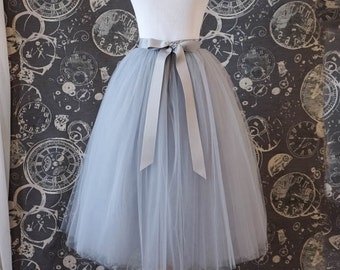 Gray Tulle Skirt With Ribbon Waistband - Adult Tea Length Tutu - Custom Size, Made to Order