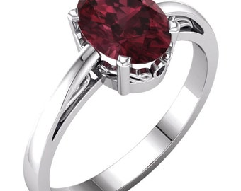 1ct Garnet Engagement Ring handmade 14k white gold