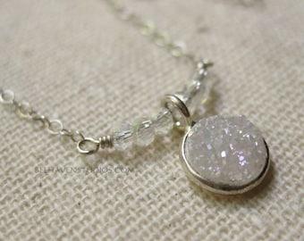 Round white Druzy sterling silver necklace Dainty petite necklace Druzy Gemstones Layering necklace Everyday Dressy trendy silver jewelry