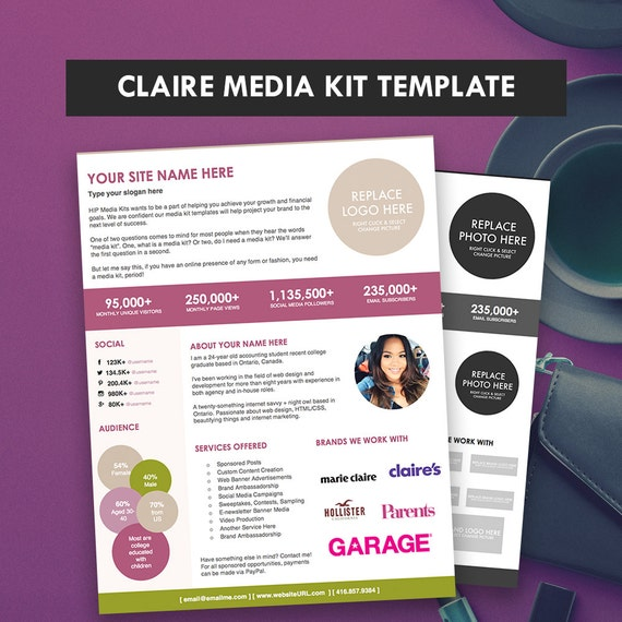 Media Kit Template Claire Press Kit Pitch Kit Blog Media