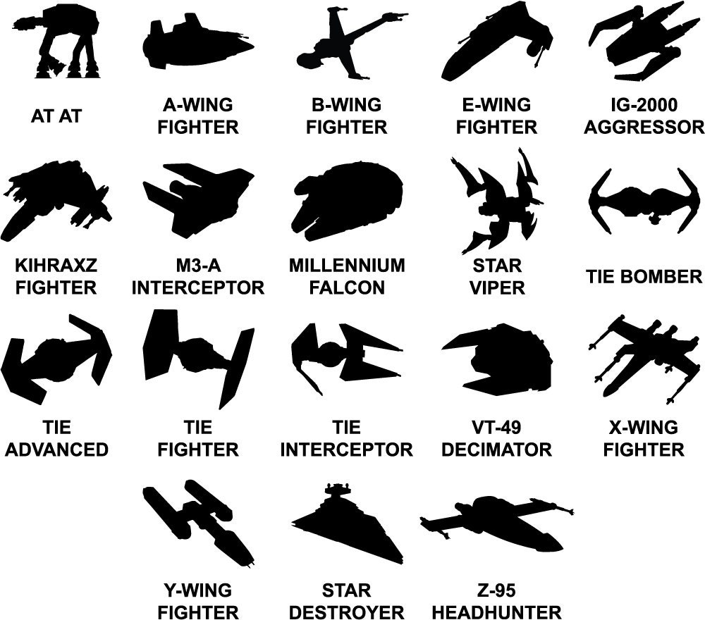 Star Wars Ship Decals AT AT Decal B Wing Fighter Decal
