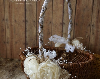 Rustic Flower Girl Basket Rustic Wedding Decoration