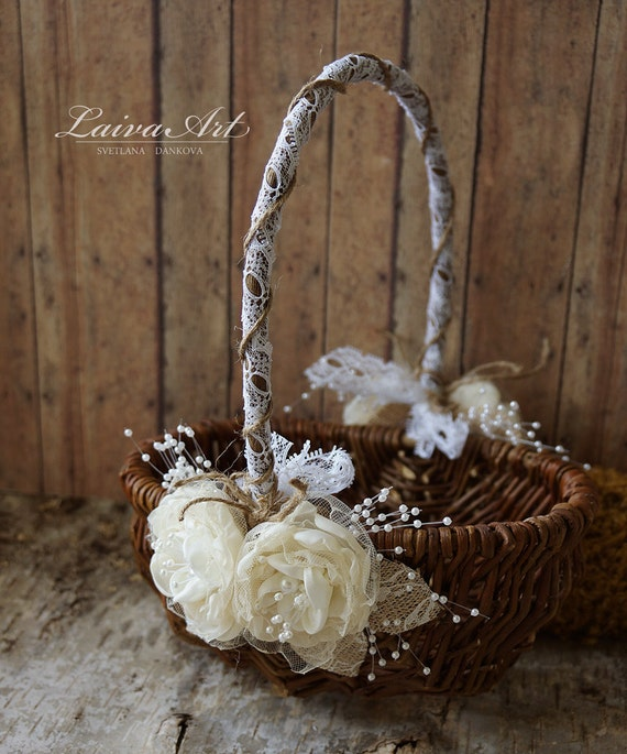 Rustic Flower Girl Basket Rustic Wedding Decoration By LaivaArt