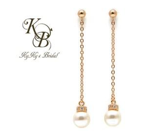 Long Gold Earrings, Gold Filled Earrings, Gold Chain Earrings, Bridal Earrings, Prom Jewelry, Long Dangle Earrings, Gold Pearl Earrings