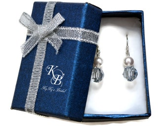 Something Blue Earrings, Bridal Earrings, Something Blue, Blue Crystal Earrings, Wedding Jewelry, Bridal Jewelry, Sterling Silver Earrings