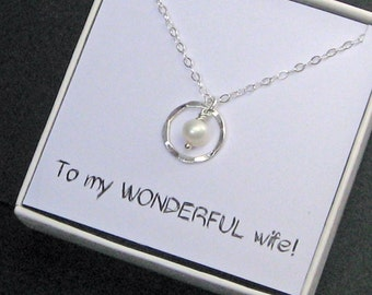 Eternity Necklace, 925 Sterling Silver, Ring Necklace, Eternity Circle Necklace, Message Card Jewelry, Pearl Necklace , Junes Birthstone