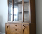 Mid Century Broyhill Brasilia Buffet and China Cabinet Hutch & Full Size Headboard by Basic Witz