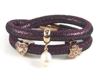 Purple Leather Charm Bracelet, Nappa Leather Bracelet, Womans Bracelet, Gold Charm Bracelet, Leather Charm Bracelet, Removable Charms