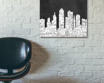 Kansas City Skyline, Black and White Art,Black and White skyline, Kansas City map,Chalkboard art,Modern Home Decor,No589