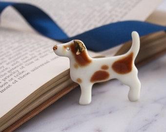 Porcelain Dog Brooch 'Rando'