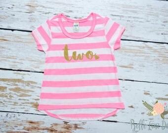Two with Heart Pink Stripe Toddler Shirt | Second Birthday | Gold Glitter Second Birthday Shirt | Girl's Toddler Birthday Tshirt | 056
