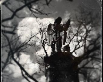 Angel Art, Cemetery Photo, Angel Wings, Graveyard, Religious Print, Gothic Angel, Statue, Guardian Angel, 8x8 Print, Fine Art Photograph