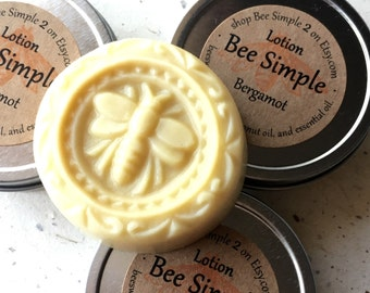 Lotion Bar Beeswax by Bee Simple - Bergamot Lotion -Earl Grey - Hand Lotion Bar - Organic Fair Trade  - Natural Shea Butter -Bee