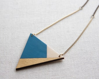 Triangle necklace, wooden necklace, hand painted, laser cut and engraved, blue royale gold and nature wood color