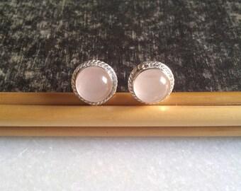 Rose Quartz Stud Earring Silver Stud Earring Stone Stud Gemstone Stud Minimal Stud Earring Gift