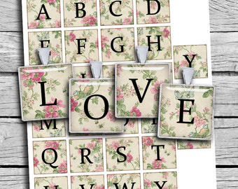 Floral Alphabet Square images Digital Collage Sheet 1x1 inch and 1.5x1.5 inch Printable Images for Journaling Scrapbooking Pendants