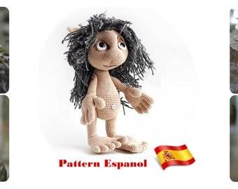 Spanish crochet tutorial, Hobbit amigurumi pattern For Lord of the Rings fan, e-book Pattern Goblin art doll, plush toy elf, monster troll
