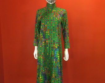 1970's Vintage Green and Multi Color Diamond Lounge Dress