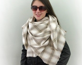 Blanket Scarf, Plaid Scarf, Cotton Oversized Scarf in Cream, Beige and Gray, Flannel Scarf, Tartan Scarf, SALE 20% OFF