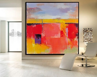 Handmade Large Contemporary Art Canvas Painting, Original Art Acrylic Painting, Abstract Canvas Art. Yellow, Red, Blue, White, Orange.