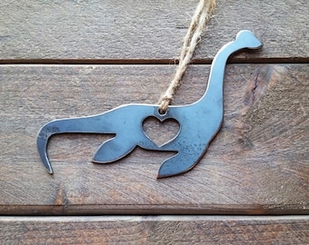 Loch Ness Monster Nessy Ornament Love Rustic Rustic Raw Steel Personalize Metal Recycled Heart Tree Ornament Holiday Gift Decor