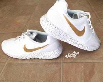 oajkt Custom Nike Roshe All white White on white zebra by CustomSneakz