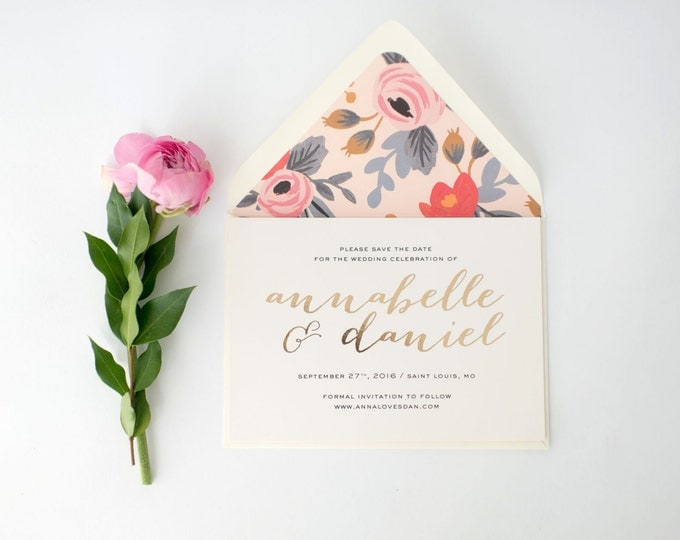 annabelle gold foil save the date invitations + lined envelopes (sets of 10)  //  lola louie paperie