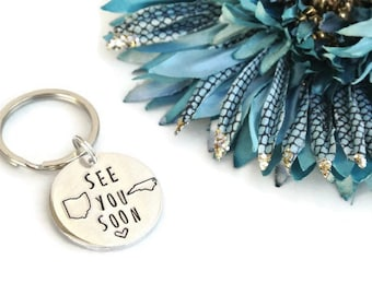 See You Soon Hand Stamped Keychain   Long Distance Relationship   Long Distance Gift   Girlfriend Gift   Boyfriend Gift   Aluminum Keychain