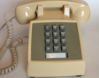 Vintage 1980 ATT 2500DM Beige Touch Tone Desk Phone with modular cord