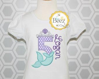 Mermaid Birthday Shirt, Girls Mermaid Shirt, Mermaid Shirt, Little Mermaid Shirt, Mermaid Outfit, Personalized Shirt, Birthday Shirt
