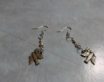 Brass colored Bird Earrings (Pierced)