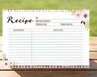 Boho Bridal shower recipe card, Printable recipe Card 4x6,instant download recipe Card,Boho recipe card,Kitchen Shower Recipe Card