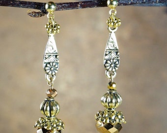 Earrings, Gold Tone Crystal Earrings with Gold Tone Accents on Gold Tone Nickel Free Studs