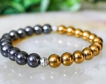 Hematite Bracelet,Jewelry for Men,Gold Bracelet, Mens Bracelet,Beaded Bracelet,Gemstone Bracelet,Silver Jewelry, Gold And Silver Bracelet