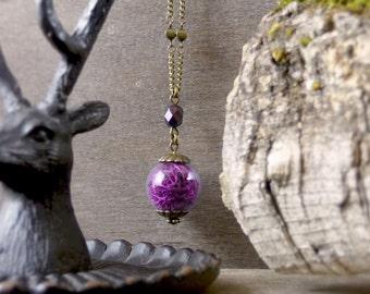 Fuchsia purple necklace, Real moss necklace, Nature jewelry, Moss pendant, Woodland moss jewelry, Botanical jewelry, Terrarium jewelry