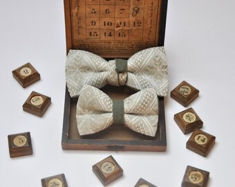 Father and Son Matching Bow Ties. Linen Bow Ties. Family Pictures Prop. Wedding Bow Tie. Groom Accessory