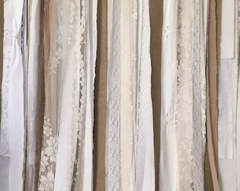 Lace Curtain Backdrop 7' ~ Wedding Backdrop Curtain, Rustic Burlap Garland ~ Lace Burlap Garland, long ~ Lace Burlap Curtains, Wedding