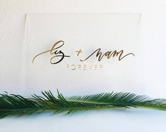 """Custom Acrylic Name Plank Sign - Laser Cut Sign - 18"""" to 24"""" wide - Family Name Sign - Last Name Sign - Wedding Sign - Wedding Gift"""