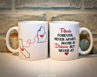 Long Distance BFF Coffee Mug | Custom Best Friends Mug | Sisters Mug | Personalized Mug | State Mug | Double Sided Coffee Mug | Coffee Cup