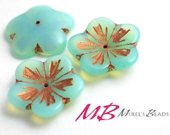 Extra Large Aqua Blue Opaline Flower with Bronze Czech Glass Beads, 4 pc Flat Flower, 23mm Beads