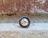Vintage Antique Art Deco Old European Diamond Sapphire Halo Engagement Ring in Platinum Size 7