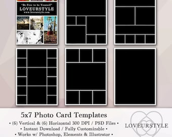 5x7 Photo Template Pack, 12 Templates, Photo Collage, Photoshop, Photo Card Templates, Personal and Commercial Use
