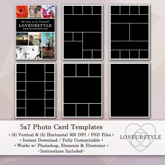 5x7 photo template pack 12 templates photo collage photoshop photo card templates personal. Black Bedroom Furniture Sets. Home Design Ideas