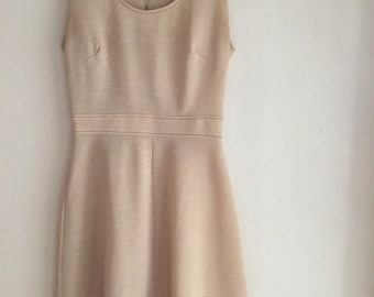 Vintage beige dress, handmade, 70's classic style, simple, modern, women's dress, skirt, back zipper, size s, knee length short no sleeves,