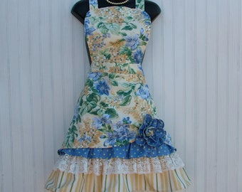 Womans Yellow Floral Apron With Lace Ruffle; Yellow, Blue and Green Floral Apron; Retro Apron; Vintage Apron, Kozy Kitchens Petticoat Apron