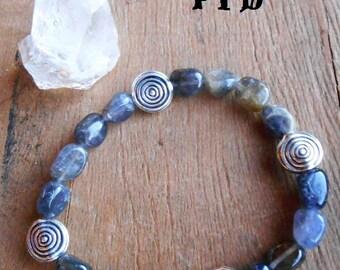 "Past Life Journey ~ Authentic Iolite Gemstone 7"" Spiral Bracelet"