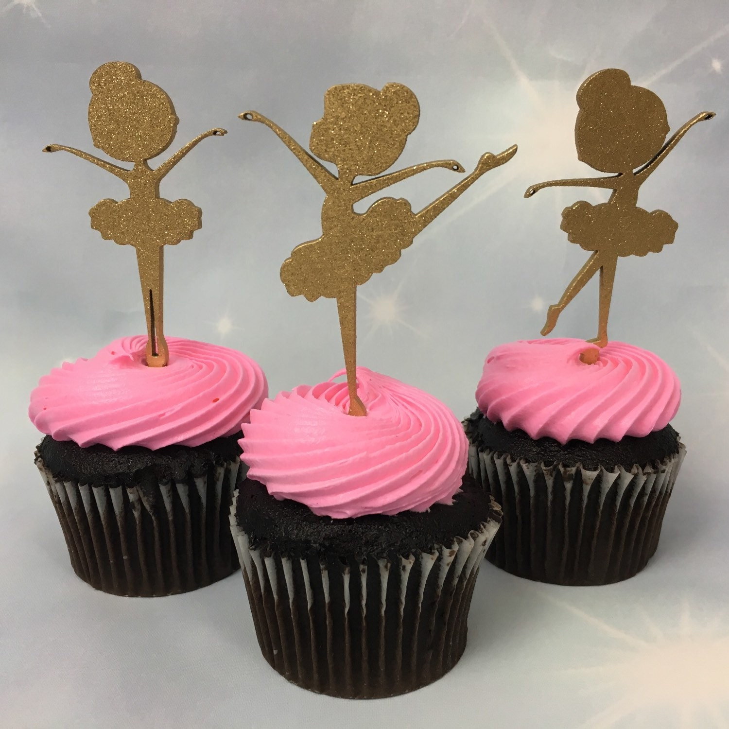Ballet Party Cupcakes Baby Shower Toppers Pink Ballerina