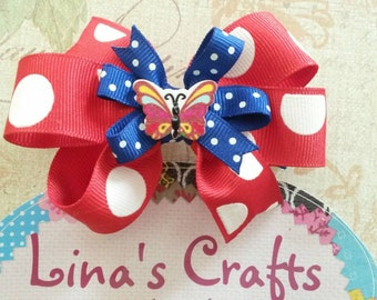 Red Hair Bow, Blue Hair Bow, Baby Hair Bow, Butterfly Hair Bow, Christmas Gifts, 4 of July Hair Bow, Hair Bows for Girls, Hair Accessories